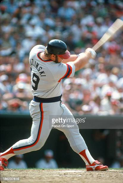 Greg Luzinski of the Chicago White Sox bats against the Baltimore Orioles during an Major League Baseball game circa 1982 at Memorial Stadium in...
