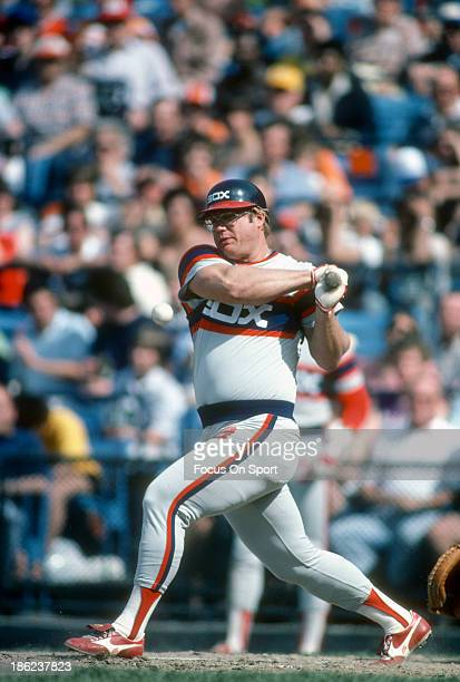 Greg Luzinski of the Chicago White Sox bats against the Baltimore Orioles during an Major League Baseball game circa 1983 at Memorial Stadium in...