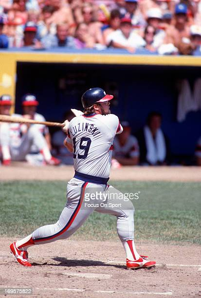 Greg Luzinski of the Chicago White Sox bats against the Milwaukee Brewers during an Major League Baseball game circa 1982 at Milwaukee County Stadium...