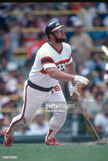 Greg Luzinski of the Chicago White Sox bats during an Major League Baseball game circa 1982 at Comiskey Park in Chicago Illinois Luzinski played for...