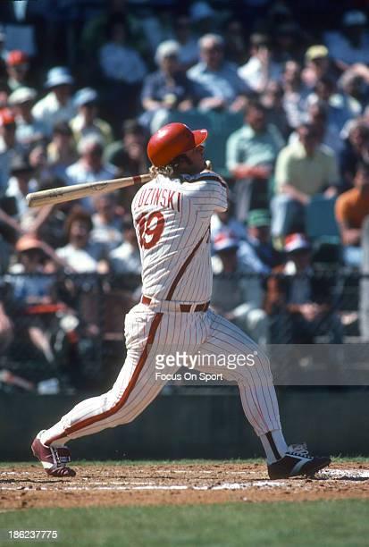 Greg Luzinski of the Philadelphia Phillies bats during an Major League Baseball spring training game circa 1979 in Clearwater, Florida. Luzinski...