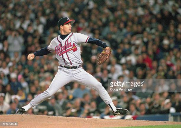 Greg Maddux of the Atlanta Braves pitches during Game six of the 1996 World Series against the New York Yankees at Yankee Stadium on October 26 1996...