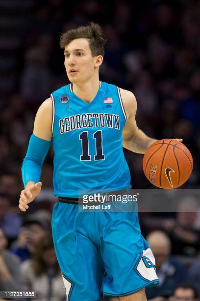 Greg Malinowski of the Georgetown Hoyas dribbles the ball against the Villanova Wildcats at the Wells Fargo Center on February 3 2019 in Philadelphia...
