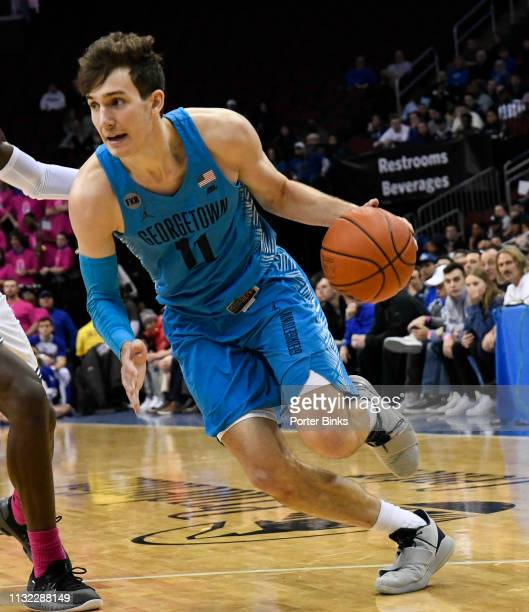 Greg Malinowski of the Georgetown Hoyas dribbles the ball against the Seton Hall Pirates at Prudential Center on February 13 2019 in Newark New Jersey