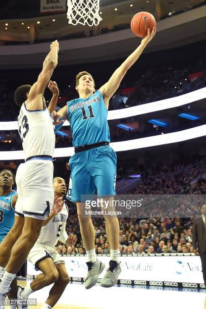 Greg Malinowski of the Georgetown Hoyas drives to the basket during a college basketball game against the Villanova Wildcats at the Wells Fargo...