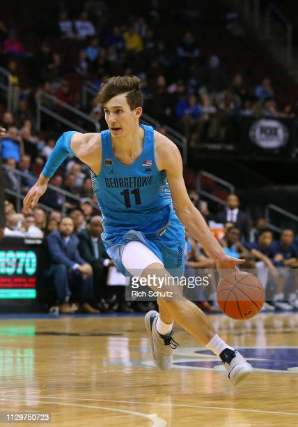Greg Malinowski of the Georgetown Hoyas in action against the Seton Hall Pirates during a game at Prudential Center on February 13 2019 in Newark New...