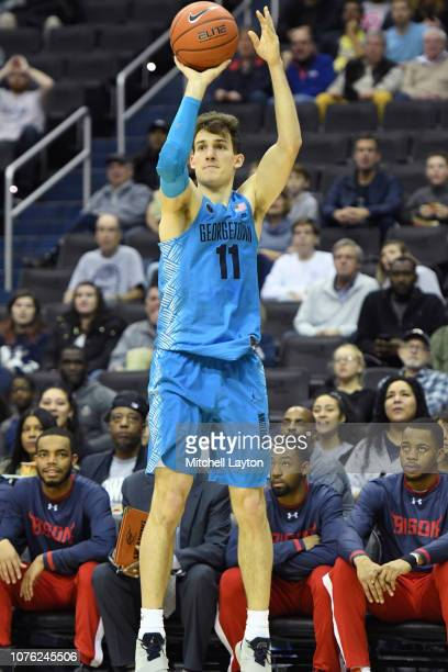 Greg Malinowski of the Georgetown Hoyas takes a jump shot during a college basketball game against the Howard Bison at the Capital One Arena on...