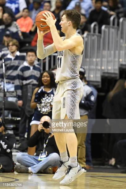 Greg Malinowski of the Georgetown Hoyas takes a jump shot during a college basketball game against the Seton Hall Pirates at the Capital One Arena on...
