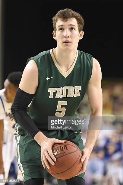 Greg Malinowski of the William Mary Tribe takes a foul shot during the semifinals of the Colonial Athletic Conference Tournament college basketball...