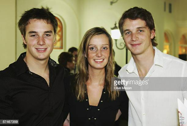 Greg Mansell Chloe Mansell and Leo Mansell the children of ex Formula One driver Nigel Mansell attend a drinks reception prior to the Grand Prix...