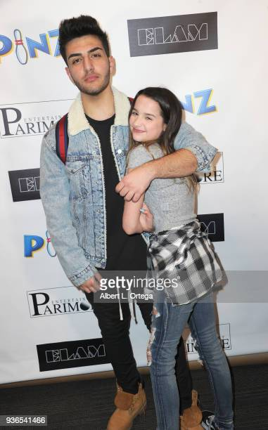 Greg Marks and Annie LeBlanc attend the Birthday Party For Elam Roberson held at Pinz Bowling on March 21 2018 in Los Angeles California