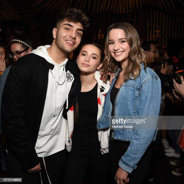 Greg Marks Sky Katz and Annie LeBlanc attend the Annie LeBling presents Annie LeBlanc Performance Pop Up Shop on December 8 2018 in Los Angeles...