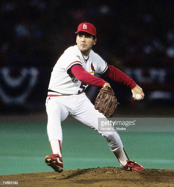 Greg Mathews of the St Louis Cardinals pitching to the Minnesota Twins during game 4 of the 1987 World Series on October 21 1987 in St Louis Missouri...