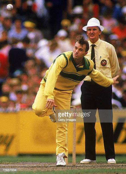 Greg Matthews of Australia bowls during the Benson Hedges World Series Cup 2nd final match between Australia and India at the Melbourne Cricket...