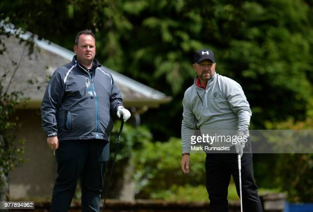 Greg McBain of Newmachar GC with amateur playing partner Bryan Robson at the 16th hole during the Lombard Trophy Scottish Qualifier at Crieff Golf...