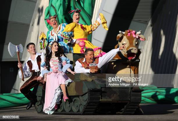Tank Commander in his tank with other cast members at the press launch for this years pantomime Jack and the Beanstalk at the SEC Armadillo in Glasgow