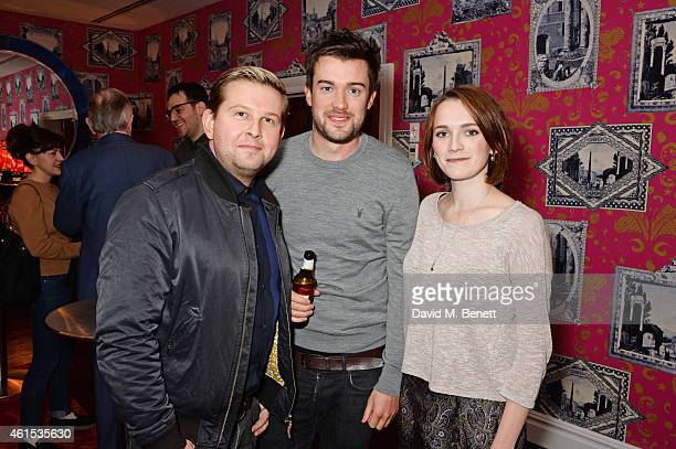 Greg McHugh Jack Whitehall and Charlotte Ritchie attend a drinks reception ahead of a special screening of 'Whiplash' at The Soho Hotel on January 14...