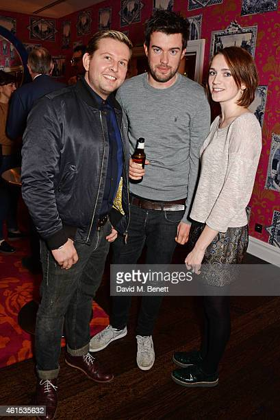 Greg McHugh Jack Whitehall and Charlotte Ritchie attend a drinks reception ahead of a special screening of Whiplash at The Soho Hotel on January 14...