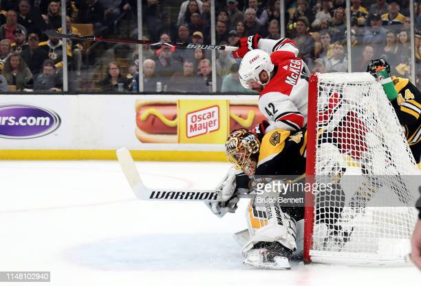 Greg McKegg of the Carolina Hurricanes scores a goal against Tuukka Rask of the Boston Bruins during the second period in Game One of the Eastern...