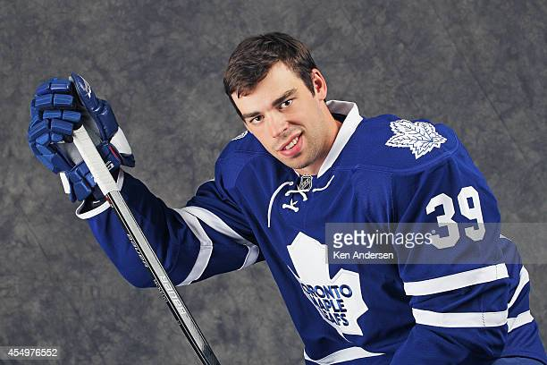 Greg McKegg of the Toronto Maple Leafs poses for an NHLPA The Players Collection portrait at the Mattamy Sports Center on August 23 2014 in Toronto...
