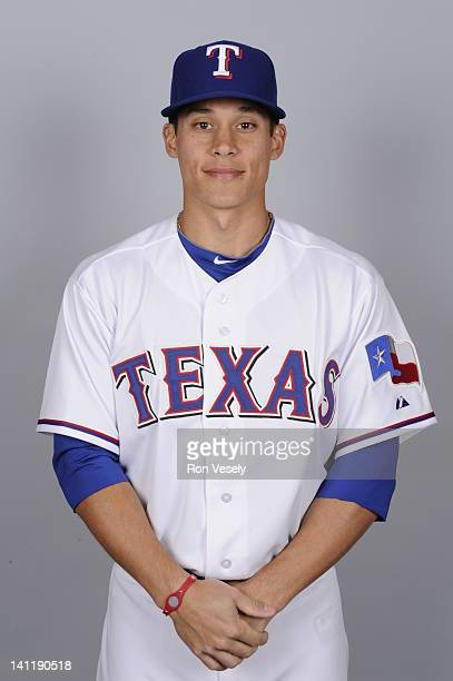 Greg Miclat of the Texas Rangers poses during Photo Day on Tuesday February 28 2012 at Surprise Stadium in Surprise Arizona