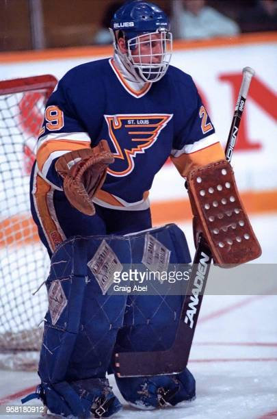 Greg Millen of the St Louis Blues skates against the Toronto Maple Leafs during NHL game action on March 9 1989 at Maple Leaf Gardens in Toronto...