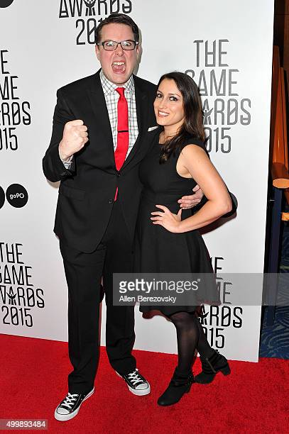 Greg Miller and Christine Steinberg arrive at The Game Awards 2015 at Microsoft Theater on December 3, 2015 in Los Angeles, California.
