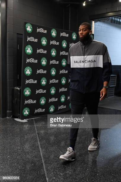 Greg Monroe of the Boston Celtics arrives to the arena prior to Game Five of Round One of the 2018 NBA Playoffs against the Milwaukee Bucks on April...