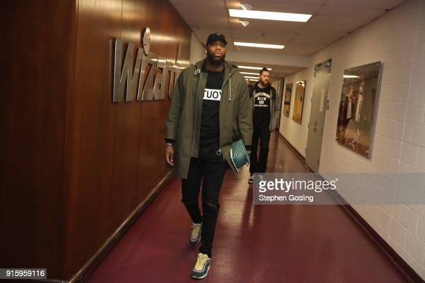 Greg Monroe of the Boston Celtics arrives to the arena prior to the game against the Washington Wizards on February 8 2018 at Capital One Arena in...