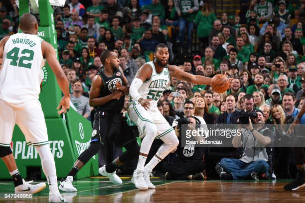 Greg Monroe of the Boston Celtics handles the ball against the Milwaukee Bucks in Game Two of Round One of the 2018 NBA Playoffs on April 17 2018 at...