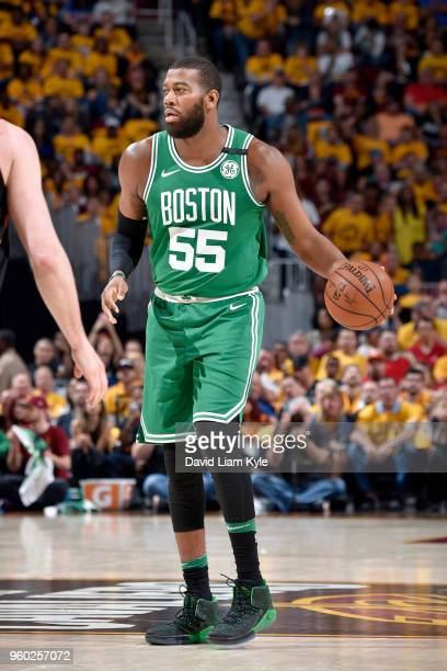 Greg Monroe of the Boston Celtics handles the ball against the Cleveland Cavaliers in Game Three of the Eastern Conference Finals during the 2018 NBA...