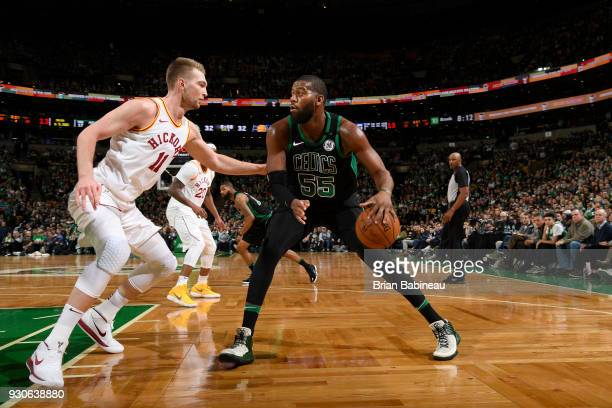 Greg Monroe of the Boston Celtics handles the ball against the Indiana Pacers on March 11 2018 at the TD Garden in Boston Massachusetts NOTE TO USER...