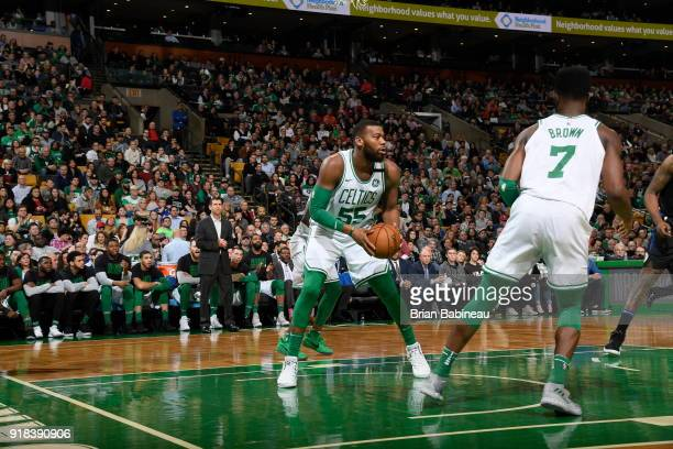 Greg Monroe of the Boston Celtics handles the ball during the game against the LA Clippers on February 14 2018 at the TD Garden in Boston...