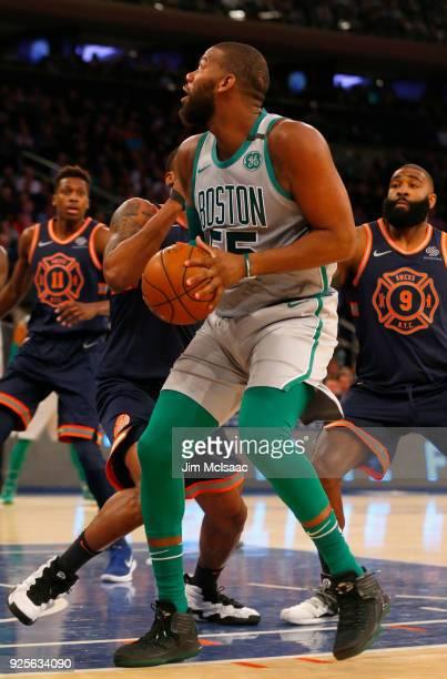 Greg Monroe of the Boston Celtics in action against the New York Knicks at Madison Square Garden on February 24 2018 in New York City The Celtics...