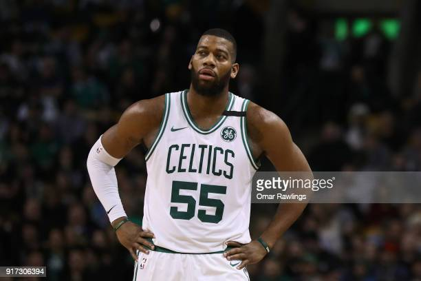 Greg Monroe of the Boston Celtics looks on during the game against the Indiana Pacers at TD Garden on February 9 2018 in Boston Massachusetts NOTE TO...