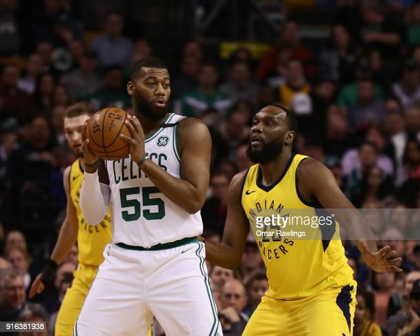 Greg Monroe of the Boston Celtics looks to pass during the first quarter of the game against the Indiana Pacers at TD Garden on February 9 2018 in...