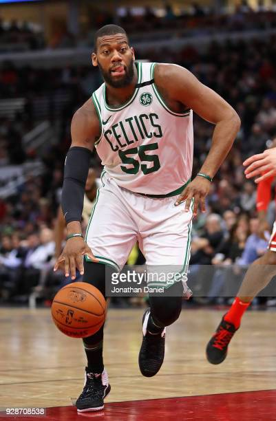 Greg Monroe of the Boston Celtics moves against the Chicago Bulls at the United Center on March 5 2018 in Chicago Illinois The Celtics defeated the...