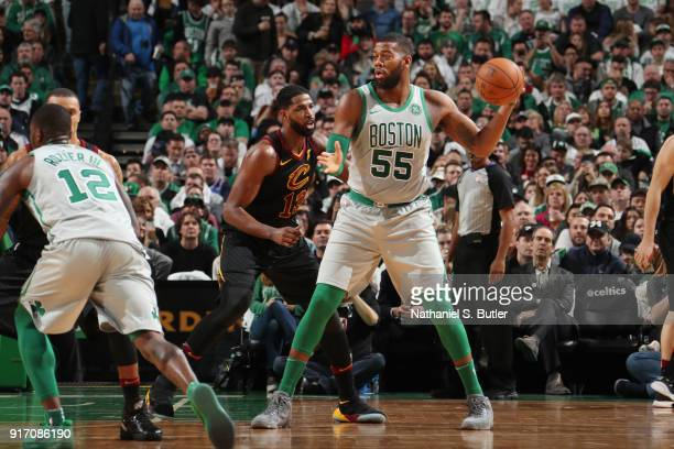 Greg Monroe of the Boston Celtics passes the ball during the game against the Cleveland Cavaliers on February 11 2018 at TD Garden in Boston...