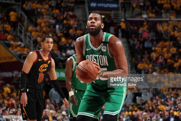Greg Monroe of the Boston Celtics shoots a free throw against the Cleveland Cavaliers in Game Three of the Eastern Conference Finals of the 2018 NBA...