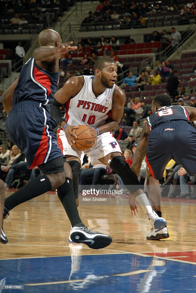 Greg Monroe #10 of the Detroit Pistons drives to the basket against the Atlanta Hawks on October 26, 2012 at The Palace of Auburn Hills in Auburn Hills, Michigan.