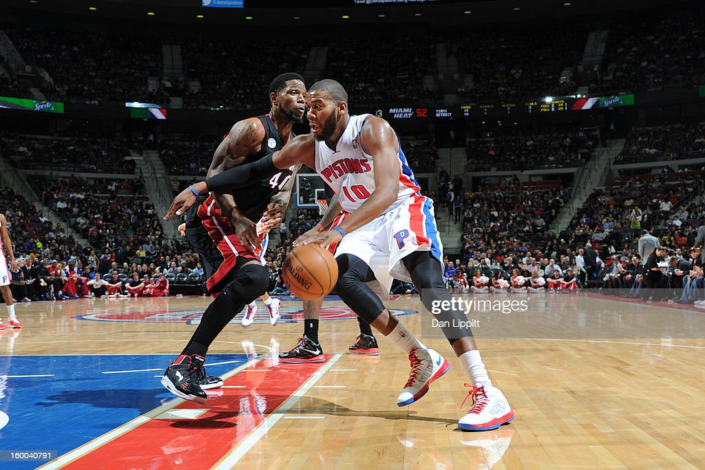 Greg Monroe #10 of the Detroit Pistons drives to the basket against the Miami Heat on December 28, 2012 at The Palace of Auburn Hills in Auburn Hills, Michigan.