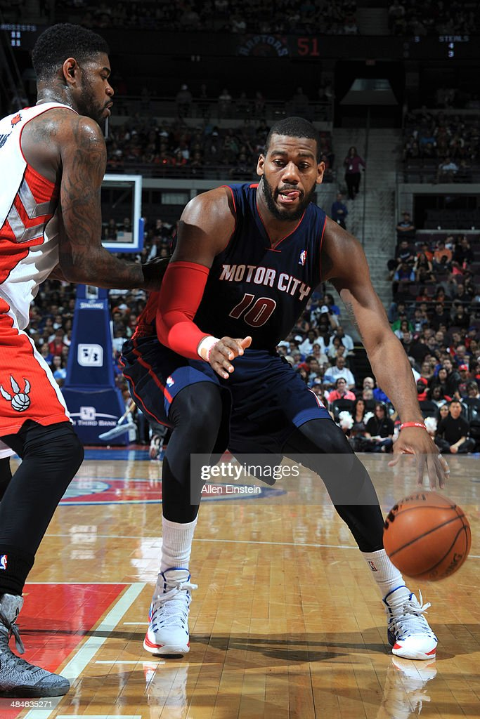 Greg Monroe #10 of the Detroit Pistons handles the ball against the Toronto Raptors on April 13, 2014 at The Palace of Auburn Hills in Auburn Hills, Michigan.