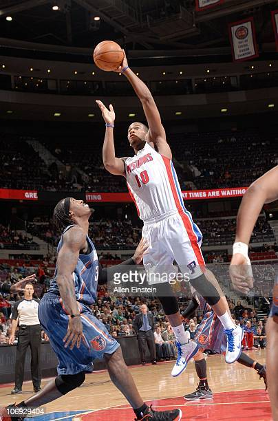 Greg Monroe of the Detroit Pistons handles the ball during a game against the Charlotte Bobcats on November 5 2010 at The Palace of Auburn Hills in...