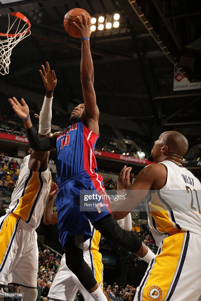 Greg Monroe #10 of the Detroit Pistons shoots a layup against the Indiana Pacers on January 30, 2013 at Bankers Life Fieldhouse in Indianapolis, Indiana.