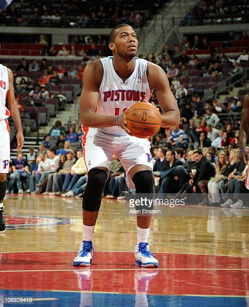 Greg Monroe of the Detroit Pistons stands at the free throw line during a game against the Charlotte Bobcats on November 5 2010 at The Palace of...