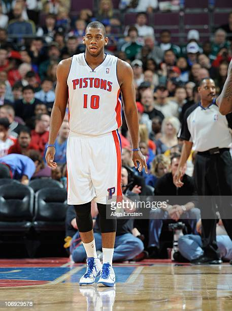 Greg Monroe of the Detroit Pistons stands on the court during a game against the Charlotte Bobcats on November 5 2010 at The Palace of Auburn Hills...