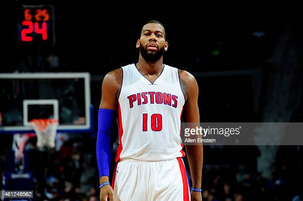 Greg Monroe of the Detroit Pistons stands on the court during a game against the Atlanta Hawks on January 9 2015 at The Palace of Auburn Hills in...