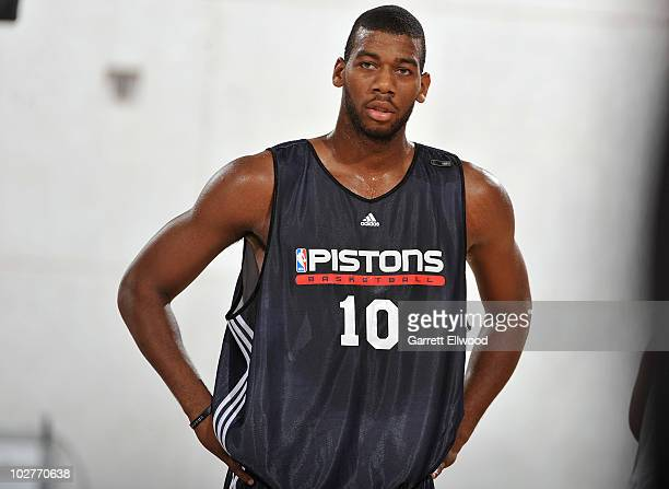 Greg Monroe of the Detroit Pistons waits for play to resume against the Los Angeles Lakers during NBA Summer League on July 9 2010 at Cox Pavilion in...