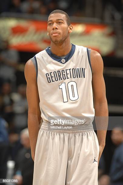 Greg Monroe of the Georgetown Hoyas during a college basketball game against the Marquette Golden Eages on February 21, 2009 at Verizon Center in...