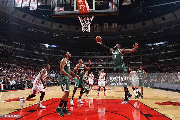Greg Monroe of the Milwaukee Bucks goes for a lay up against the Chicago Bulls during a preseason game on October 3 2016 at United Center in Chicago...